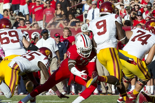 <p><p>Will Parks, the former Germantown Bear now playing for the University of Arizona Wildcats, lines up a tackle during the game against the University of Southern California. (Courtesy of Arizona Athletics)</p></p>