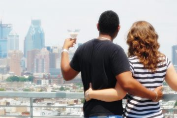 the author and her husband sip white chocolate martinis at Bok Bar in South Philadelphia, overlooking the Center City skyline. (<a href='https://www.instagram.com/phillyblooms/'>@PhillyBlooms</a>)
