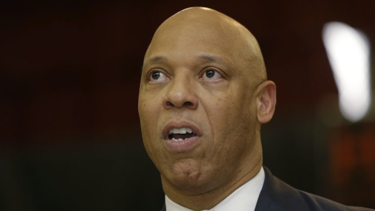 William R. Hite, Superintendent of the School District of Philadelphia, speaks during a news conference at Andrew Jackson Elementary School, Thursday, May 9, 2013, in Philadelphia. (AP Photo/Matt Rourke, file)