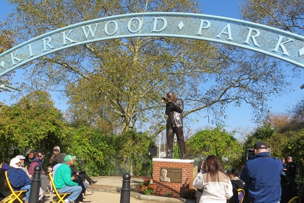 <p><p>Clifford Brown statue decorates the center entrance of Kirkwood Park in Wilmington</p></p>