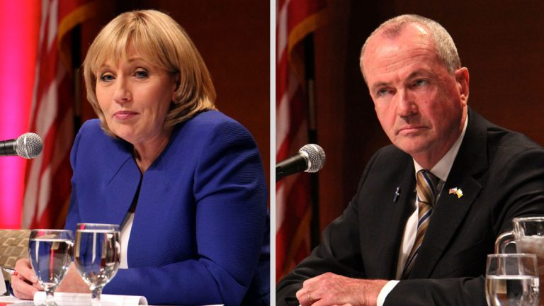 Republican Lt. Gov Kim Guadagno (left) and Democrat Phil Murphy will compete in November. (Emma Lee/WHYY)