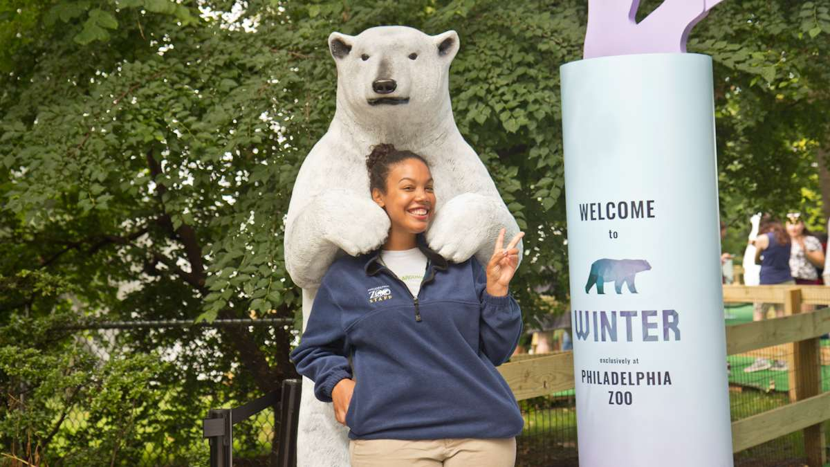 Ciani Brown is a greeter at Winter play exhibit at the Philadelphia Zoo.