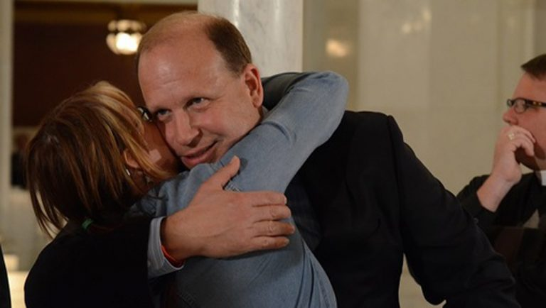 State Senator Daylin Leach hugs a medical marijuana supporter. The Democrat has strongly supported both medical and recreational use of the drug, and is now setting his sights on legalizing the latter. (AP Photo)