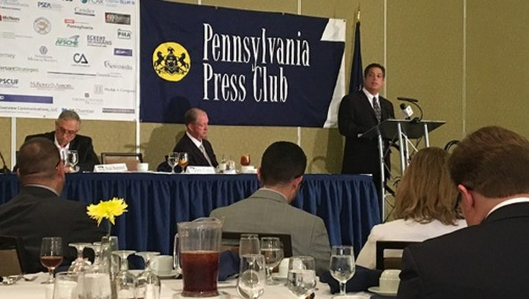 Senate Minority Leader Jay Costa spoke at an event for the Pennsylvania Press Club, which regularly features state and US lawmakers. (Katie Meyer/WITF)