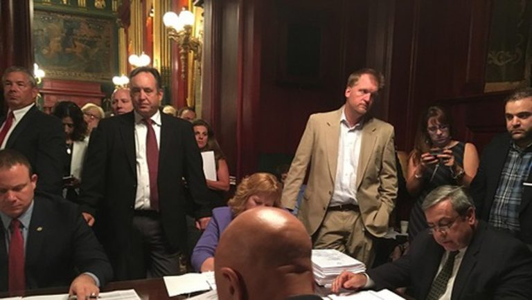 Senators hold a session late Wednesday evening to push a new revenue package through committee. (Katie Meyer/WITF)