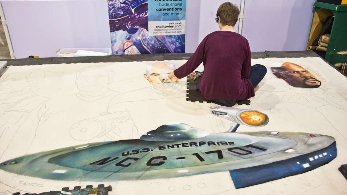 Artist Lexi Fulmer (pictured) and her sister Devin create a Star Trek chalk drawing.