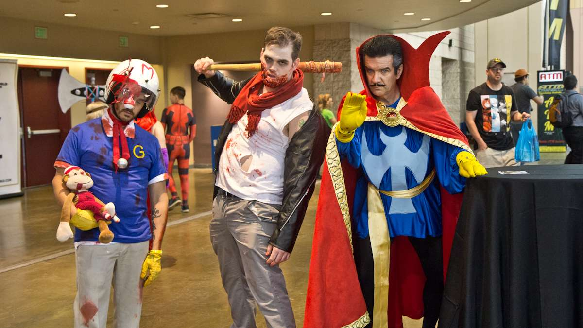 (From left) Derek Rodriguez as Zombie Speed Racer, Ryan Smith as Zombie Negan, and Mike McManis as Dr. Strange.