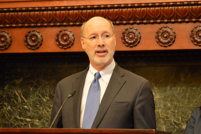 Gov. Tom Wolf says a safe place to dispose of drugs helps keep them out of the wrong hands. (Tom MacDonald/WHYY)