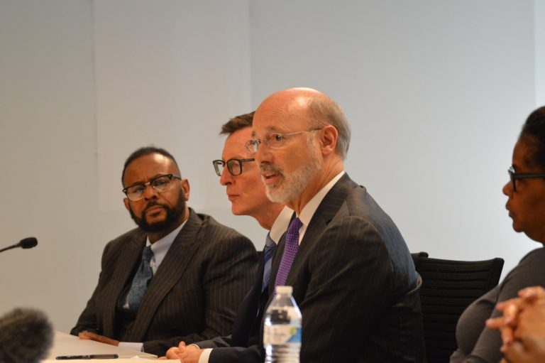 Pennsylvania Gov. Tom Wolf speaks at a recruiting office in Philadelphia. (Tom MacDonald/WHYY)