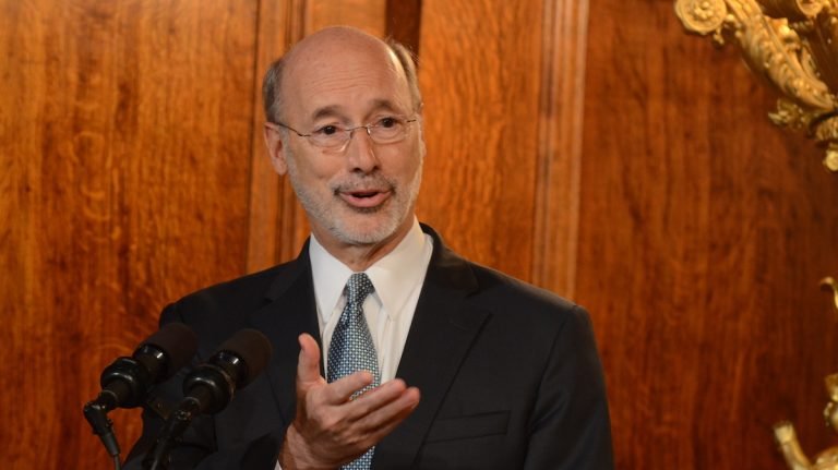 Pennsylvania Gov. Tom Wolf is shown speaking during a news conference in Harrisburg in 2016. (AP Photo/Marc Levy