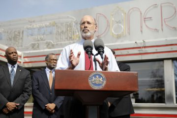Pennsylvania Gov. Tom Wolf speaks during a news conference on Tuesday
