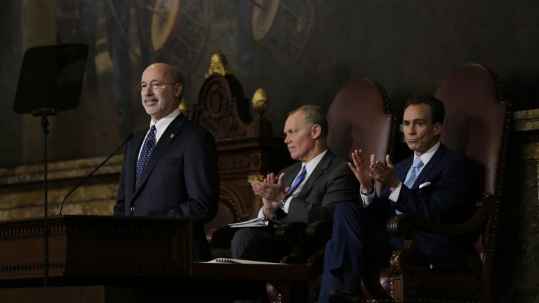 Gov. Tom Wolf, left, delivers his budget address for the 2015-16 fiscal year to a joint session of the Pennsylvania House and Senate on Tuesday, March 3, 2015, in Harrisburg, Pa. Speaker of the House of Representatives, Rep. Mike Turzai, R-Allegheny, is at center, and Lt. Gov. Michael Stack, is at right. (AP Photo/Matt Rourke)