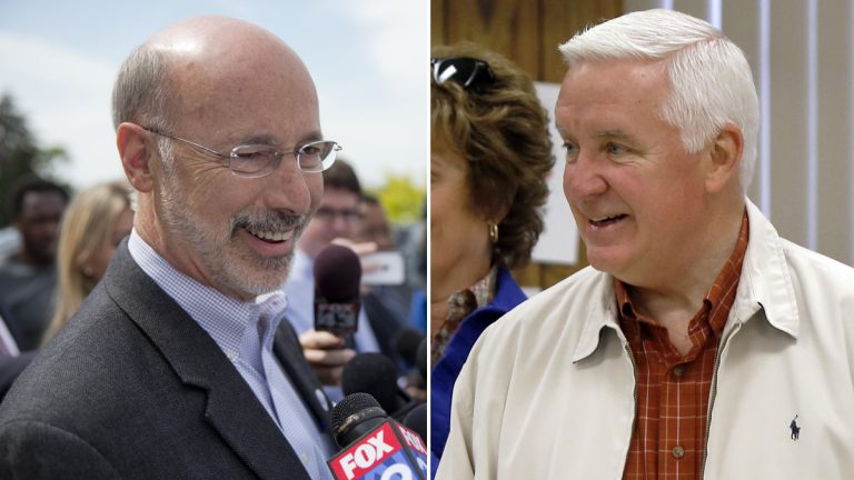 Democratic Challenger Tom Wolf will face Gov. Tom Corbett in November. The race is already heating up. (AP Photos by  Matt Rourke (left panel) and Keith Srakocic)
