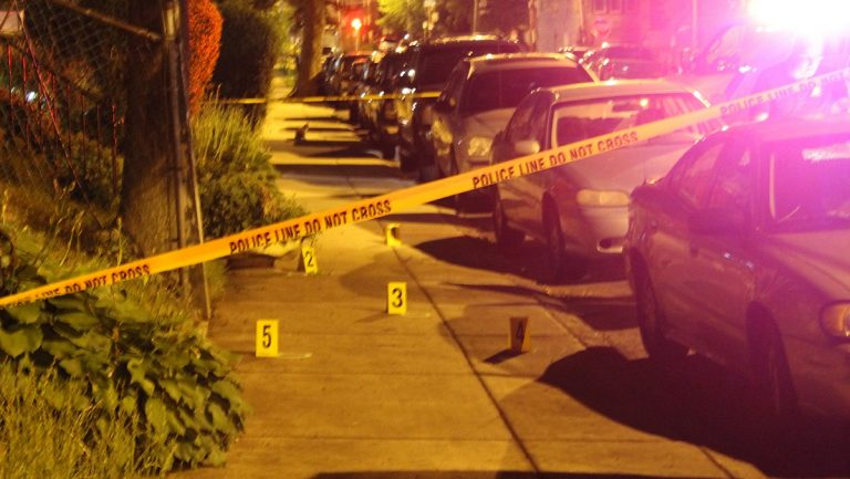 The scene of Wednesday night's shooting in West Oak Lane. (Matthew Grady/for NewsWorks)