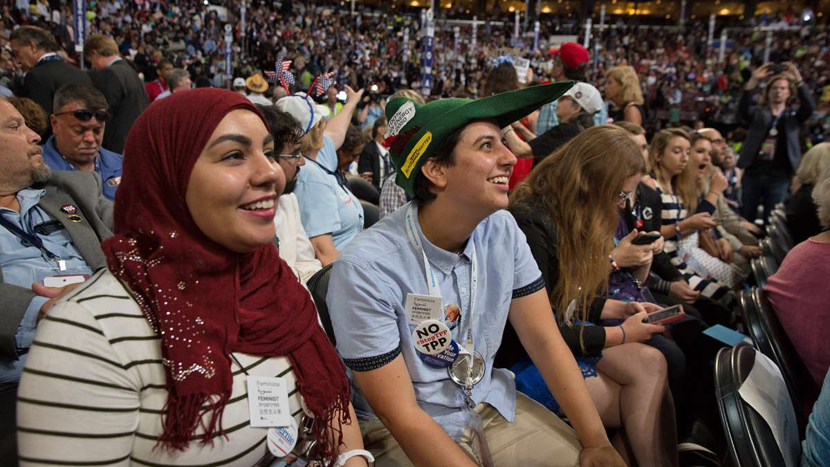 ''We're young delegates. We haven't been waiting our whole lives for this, but it is still an amazing opportunity,'' said Jordan Tannenbaum (center) with Yasmeen Kaboud (left), delegates and Senator Bernie Sanders supporters from Philadelphia, Pa.