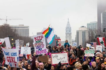 Protesters are shown gathered on the Benjamin Franklin Parkway for the Women's March in Philadelphia on Saturday, Jan 21. (Brad Larrison for NewsWorks, file)