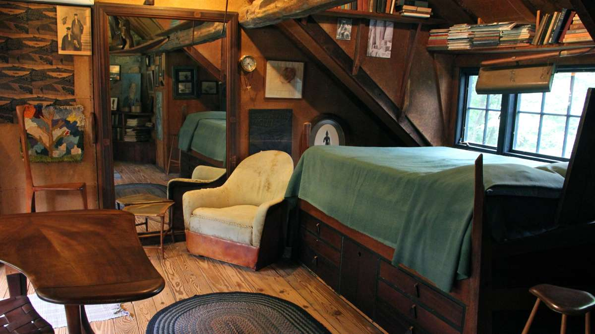 Wharton Esherick's efficient use of space can be seen in his bedroom, preserved as he left it. (Emma Lee/WHYY)