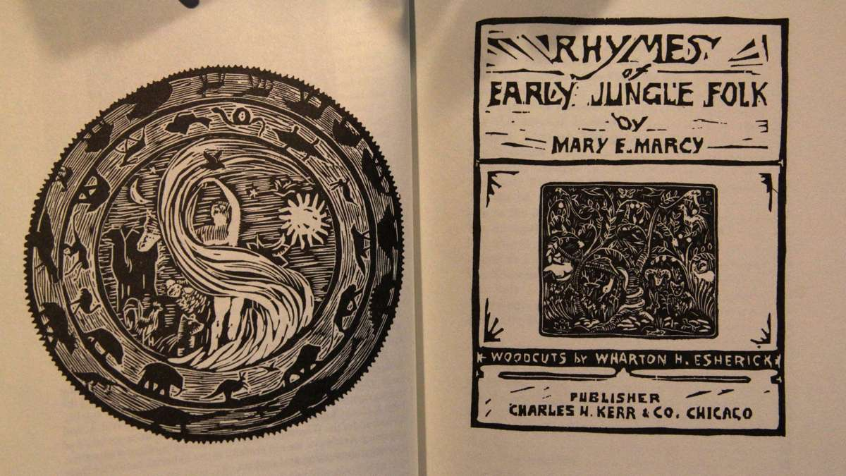 The woodcuts for Rhymes of Early Jungle Folk were Wharton Esherick's first foray into woodworking. (Emma Lee/WHYY)