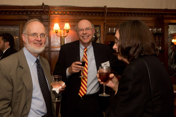 <p><p>Tom Elkinton (left), Rob Harting, co-chair of the Wyck Board of Directors, and Emilie Harting. (Photo courtesy of Dave Tavanni)</p></p>