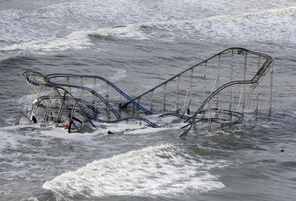 <p>&lt;p&gt;Waves wash over a roller coaster from a Seaside Heights, N.J. amusement park that fell in the Atlantic Ocean during superstorm Sandy on Wednesday, Oct. 31, 2012. (AP Photo/Mike Groll)&lt;/p&gt;</p>