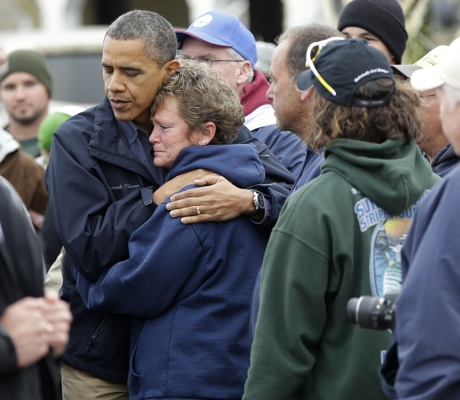 <p>&lt;p&gt;President Obama, left, embraces Donna Vanzant, right, on Oct. 31, 2012 in Brigantine, N.J. Vanzant is a owner of North Point Marina, which was damaged by the storm. (AP Photo/Pablo Martinez Monsivais)&lt;/p&gt;</p>