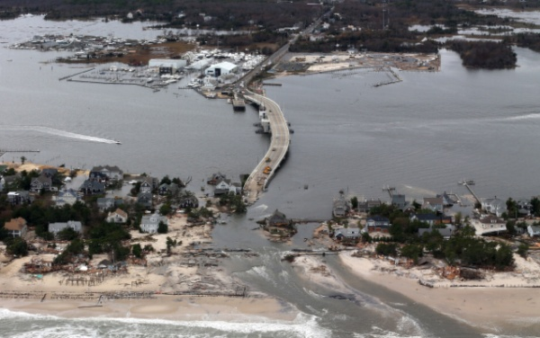 <p>&lt;p&gt;This aerial photo made from a helicopter shows storm damage from Sandy over the Atlantic Coast in Mantoloking, N.J., Wednesday, Oct. 31, 2012. (AP Photo/Doug Mills, Pool)&lt;/p&gt;</p>