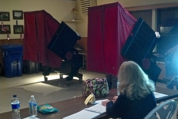 <p><p>This polling location in Brick N.J. was supposed to be evacuated at 6 p.m. ahead of another storm. Poll workers plan to keep it open till 8 p.m. (Tara Nurin/for NewsWorks)</p></p>