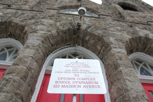 <p><p>A sign in front of the Price Memorial Church in Atlantic City directs voters to an alternate polling place. (Emma Lee/for NewsWorks)</p></p>