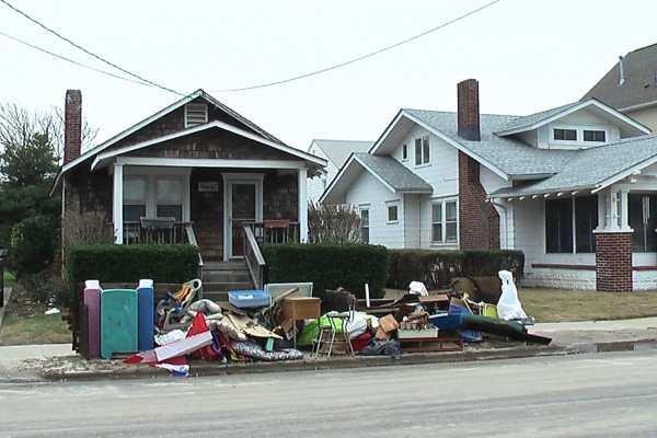 <p><p>This was a common sight for the homes east of Main St. in Belmar, N.J. (Alan Tu/WHYY)</p></p>