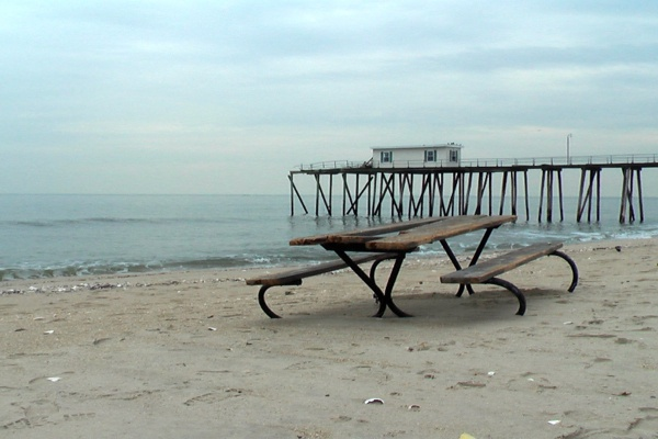 <p><p>I'm not sure if this picnic table belongs here. The pier is part of the Belmar Fishing Club near the bridge to Avon By the Sea. (Alan Tu/WHYY)</p></p>