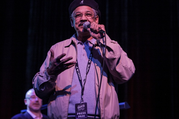 <p>WRTI radio Host Jeff Duperon introducing The Captain Black Big Band. (Howard Pitkow/for Newsworks)</p>