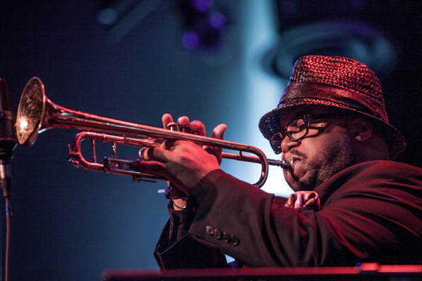 <p>Special guest Nicholas Payton playing trumpet with Orrin Evans and The Captain Black Big Band. (Howard Pitkow/for Newsworks)</p>