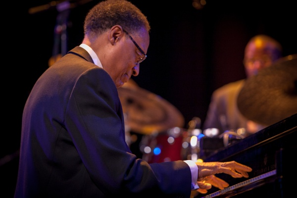 <p>Festival headliner Ramsey Lewis performing with his band at the Convention Hall. (Howard Pitkow/for Newsworks)</p>