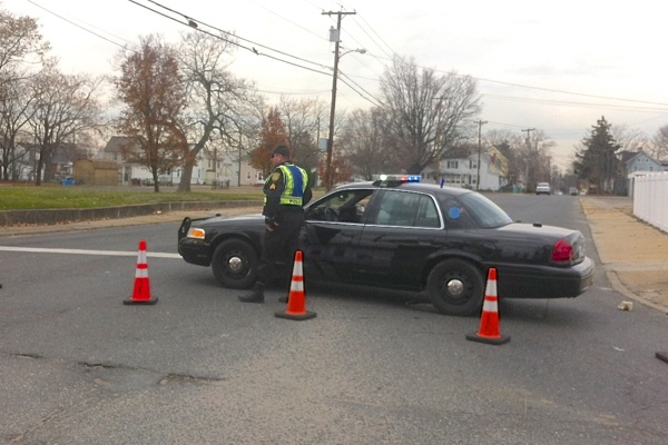 """<p><p><span style=""""font-family: monospace; font-size: 14px;"""">By mid-afternoon, roads and highways in Paulsboro were reopened, though the street leading to the site of the derailment was still blocked off. (Amy Z. Quinn/for NewsWorks)</span></p></p>"""