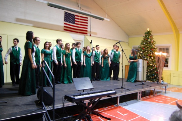 <p>Anthony Verme, Ryan Sagedy and Joseph Matlack who are part of West High School Chamber Singers said they had to audition to be able to participate in the event (Natavan Werbock/for NewsWorks)</p>