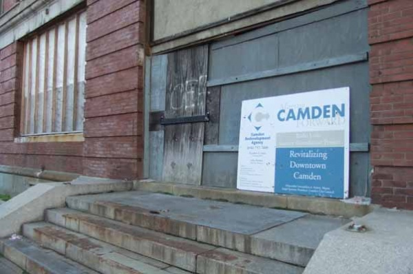 <p><p>This sign shows that this building is part of Camden's redevelopment plan. (Tara Nurin/for NewsWorks)</p></p>