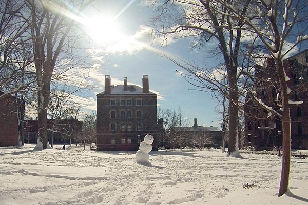 <p><p>Princeton University students created this leaning snowman. (Alan Tu/WHYY)</p></p>