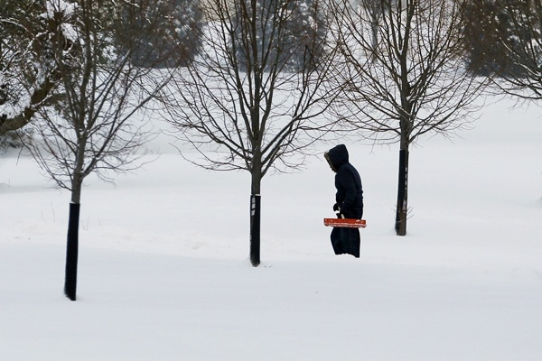 <p><p>A person walks on a lane in the snow Sat, Feb. 9, 2013, near Newtown, Pa. (AP Photo/Mel Evans)</p></p>