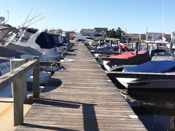 <p>During a typical season, boats are docked neatly at Harbour Yacht Club & Marina located in the Brick Township section of the barrier island. (Photo courtesy of Jimmy Ryan)</p>