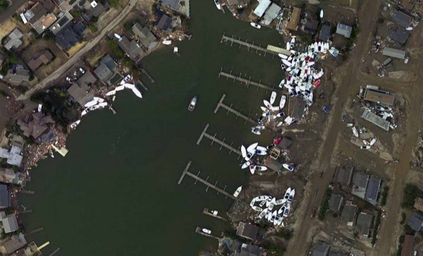 <p>How the Harbour Yacht Club looked after Superstorm Sandy (Photo courtesy of NOAA)</p>