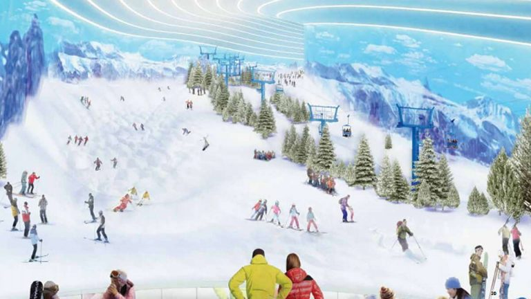 The mega-mall would include this indoor ski slope. (Image courtesy of Triple Five)