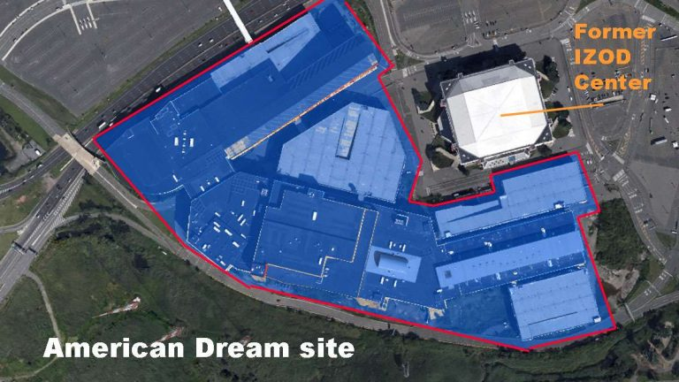 The footprint of the completed exterior of the American Dream mall. (Alan Tu/Google Earth map)