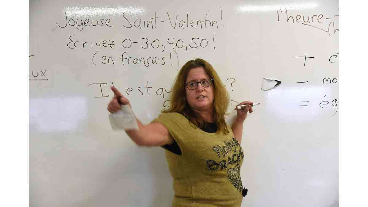 Paula Saillard teaching a French class at Woodrow Wilson High School.