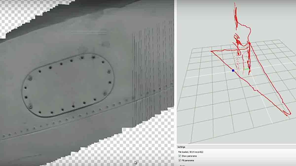 Image of what the drone sees (left) and a red line shows the UAV's flight pattern. (Screen capture from Luftronix video)