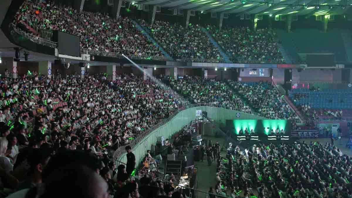 In this Aug. 20, 2016 photo, close to 5,000 fans watch the 2016 Coca-Cola League of Legend Summer Final match in Seoul, South Korea.