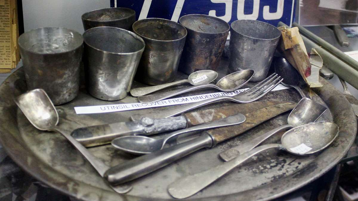 Kitchenware recovered from the Hindenburg crash site.