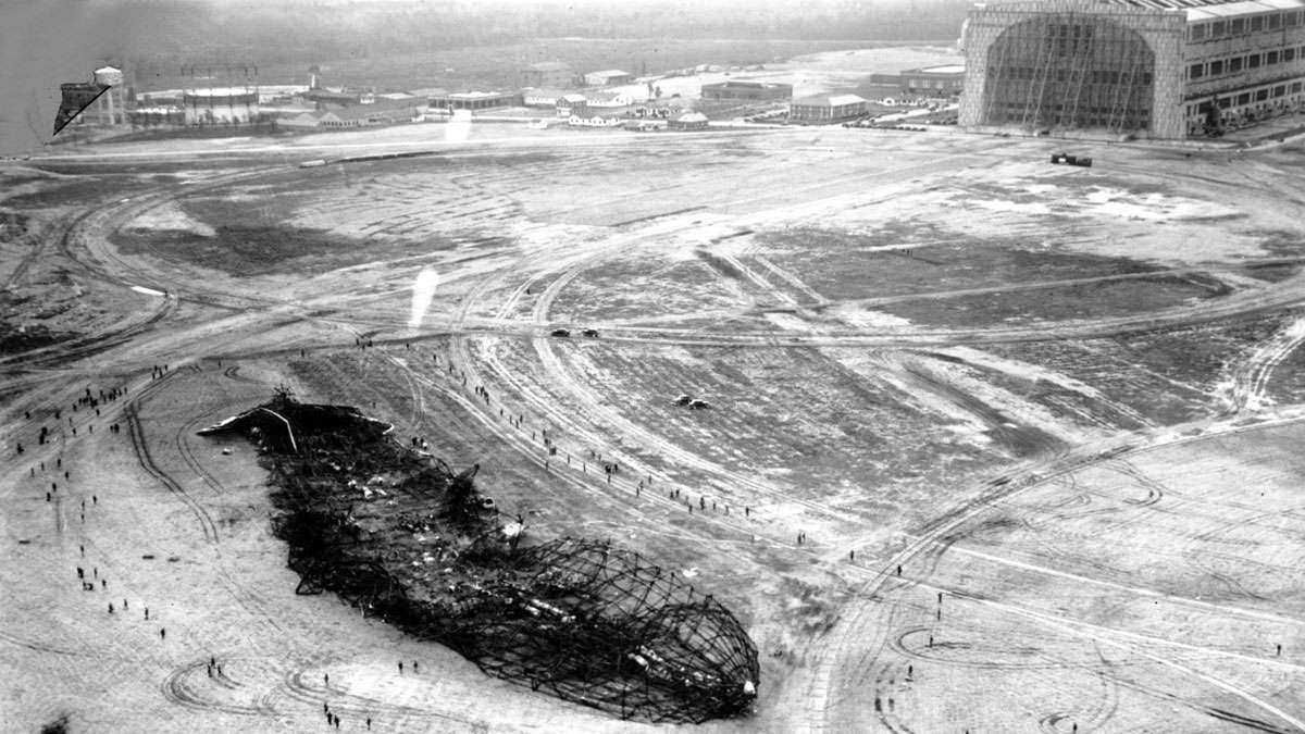 This is an aerial photo of the wreckage of the German Hindenburg airship at Lakehurst, N.J. on May 7, 1937. The airship exploded prior to landing on May 6.