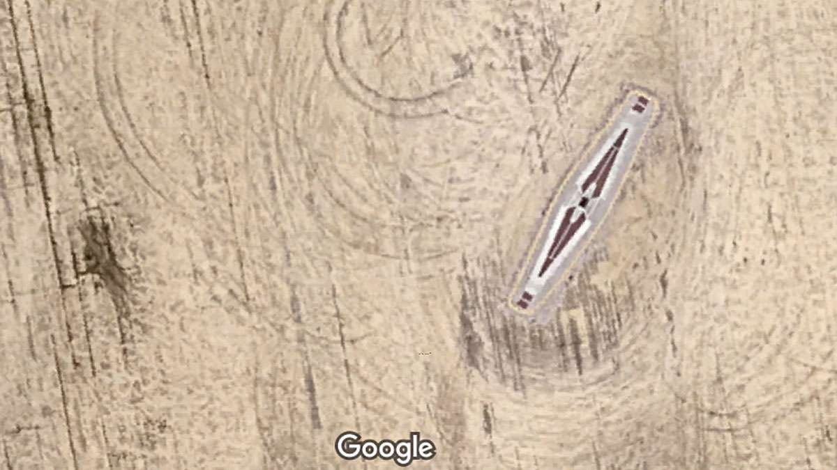 How the Hindenburg memorial looks from space. (Image via Google Maps)