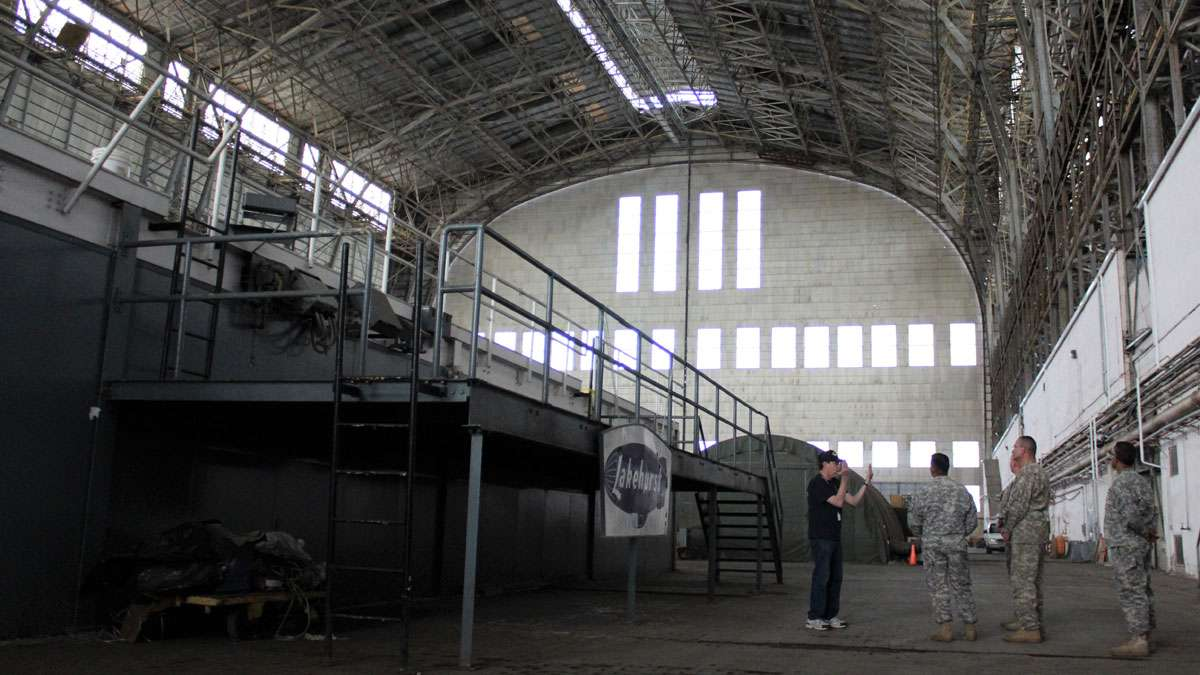 Inside Hangar 1 where the Hindenburg was housed when it was in New Jersey in the 1930's.