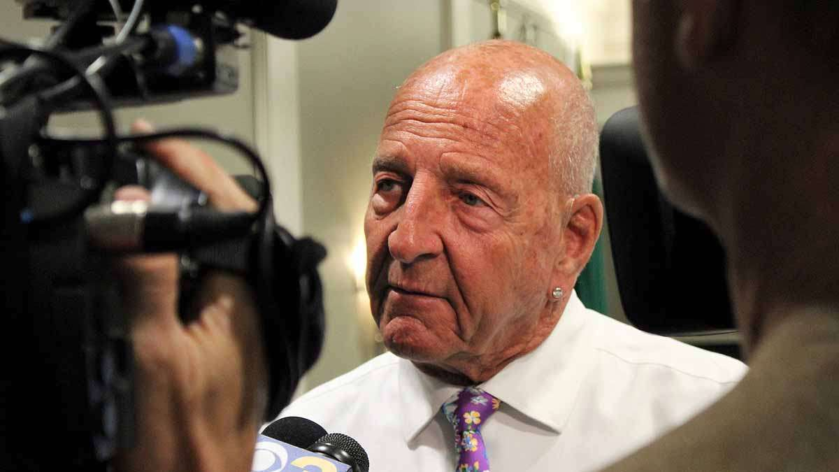 Margate Mayor Michael S. Becker was interviewed by reporters after the meeting.